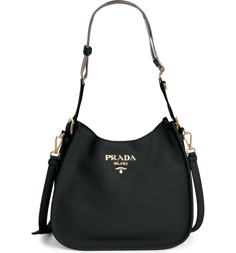 PRADA Daino Calfskin Leather Hobo, Main, color, 001