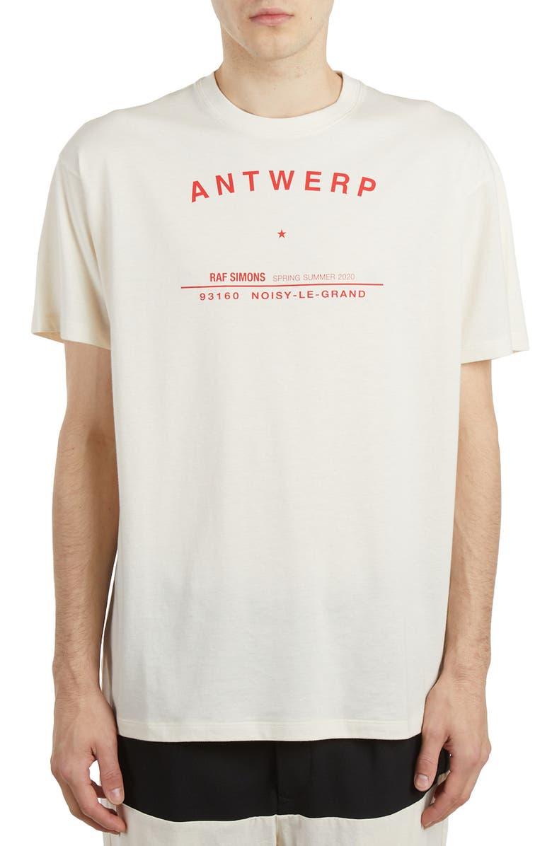 RAF SIMONS Antwerp Tour Graphic Cotton T-Shirt, Main, color, ECRU