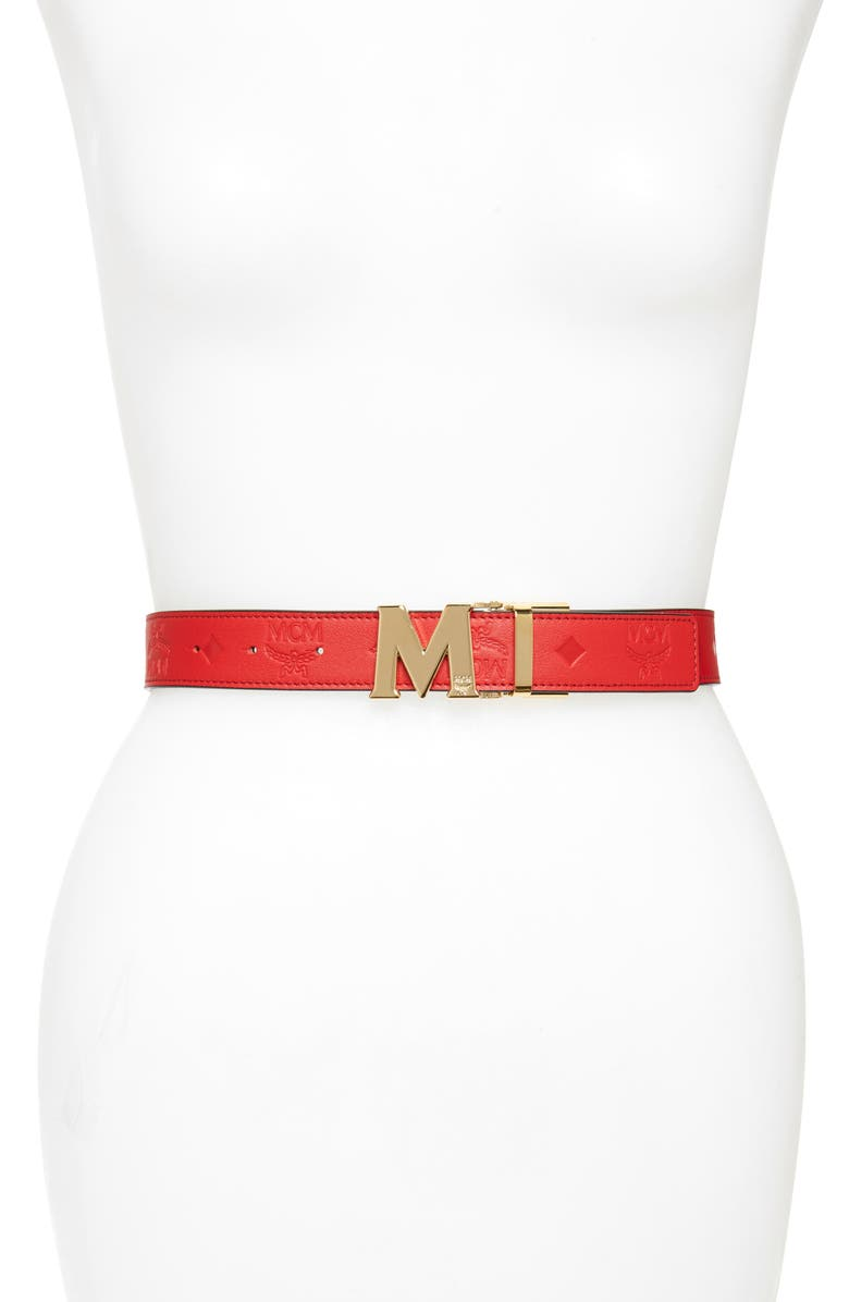 MCM Logo Embossed Reversible Leather Belt, Main, color, VIVA RED