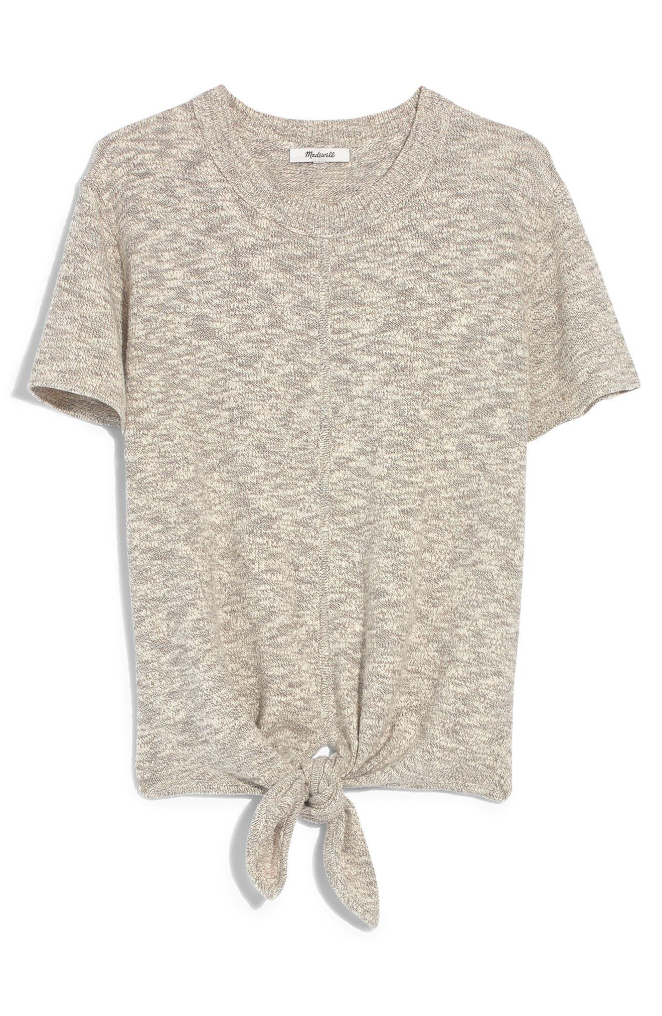 ,                             Knot Front Sweater Tee,                             Alternate thumbnail 4, color,                             MARLED SLATE
