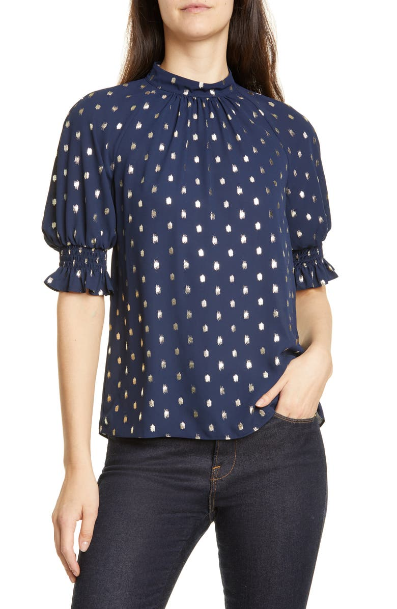 TED BAKER LONDON Puff Sleeve Top, Main, color, DK-BLUE