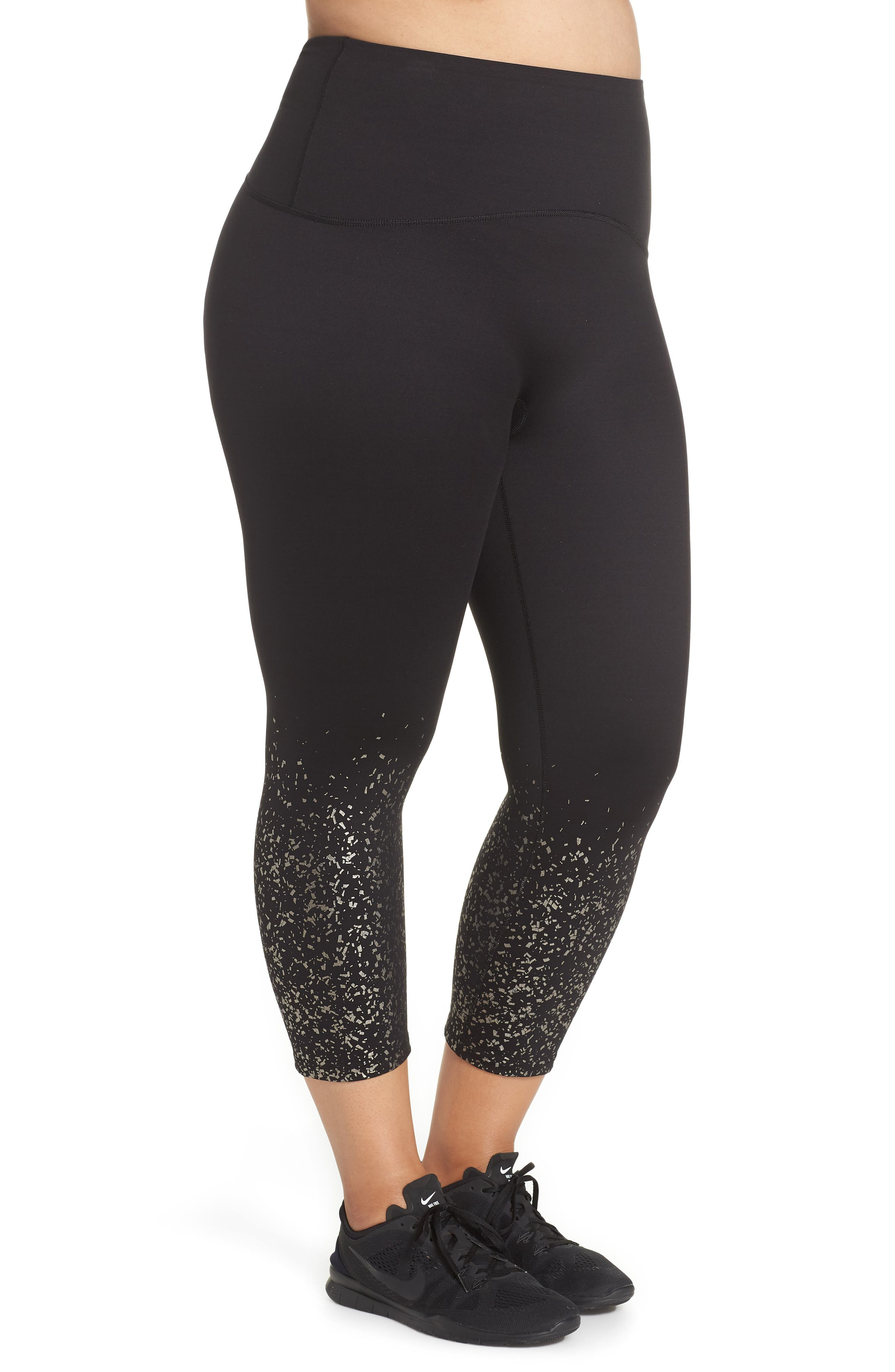 ,                             Active Print Crop Leggings,                             Alternate thumbnail 4, color,                             METALLIC CONFETTI