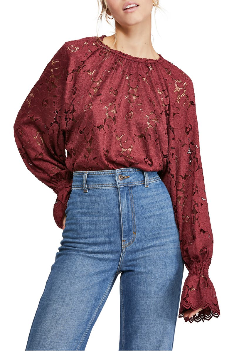 FREE PEOPLE Olivia Lace Top, Main, color, WINE