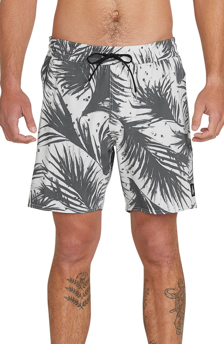 VOLCOM Mas Palmas Swim Trunks, Main, color, BLACK