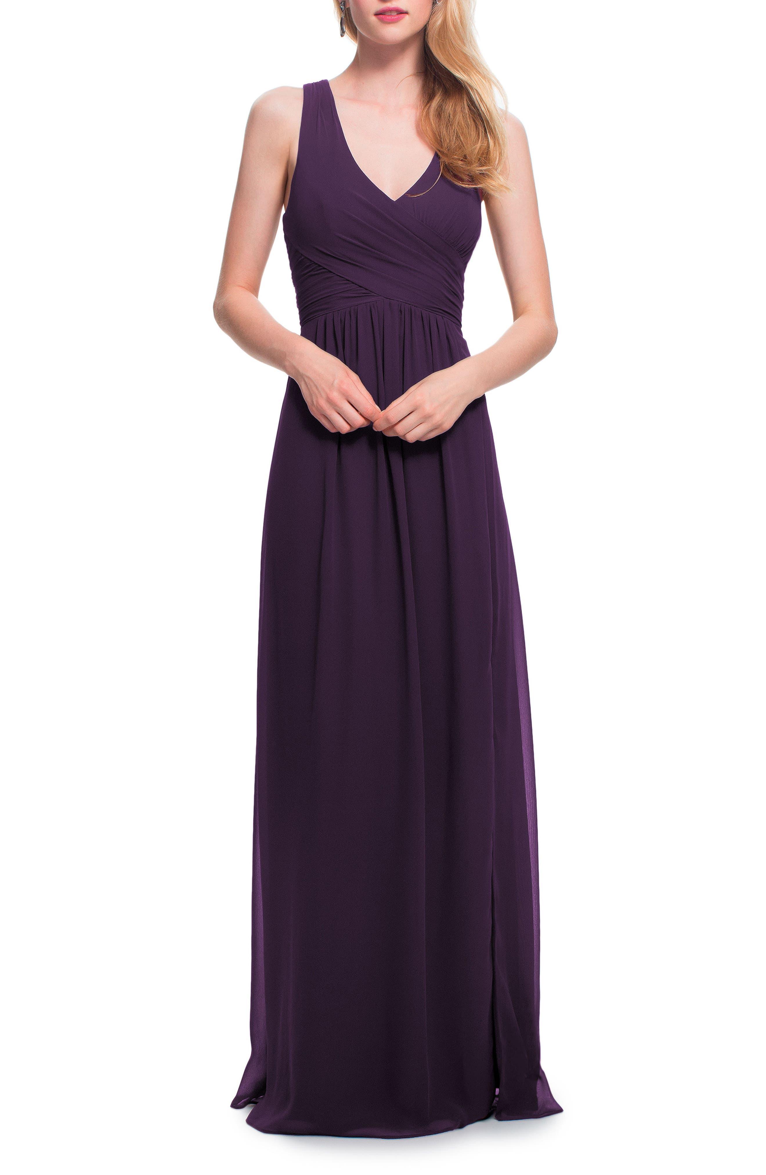 #levkoff Back Cutout Chiffon Gown, Purple