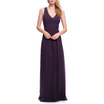 #levkoff Back Cutout Chiffon Gown, Purple