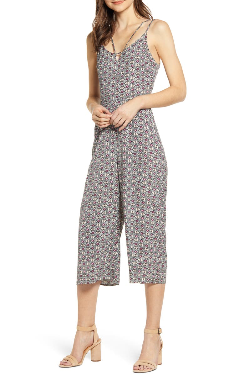 BISHOP + YOUNG Peekaboo Mosaic Crop Wide Leg Jumpsuit, Main, color, MOSAIC PRINT