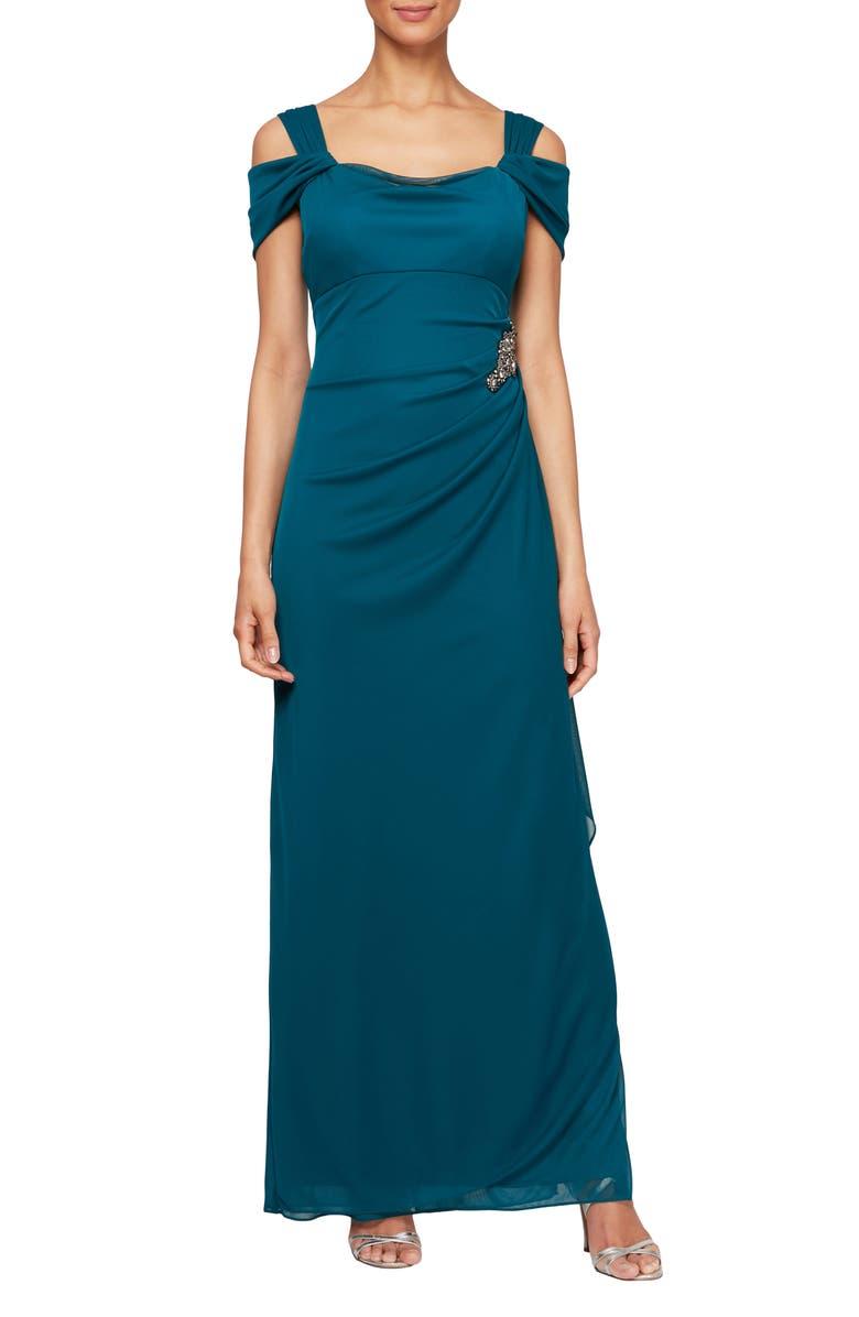 ALEX EVENINGS Embellished Cold Shoulder Gown, Main, color, DEEP TEAL