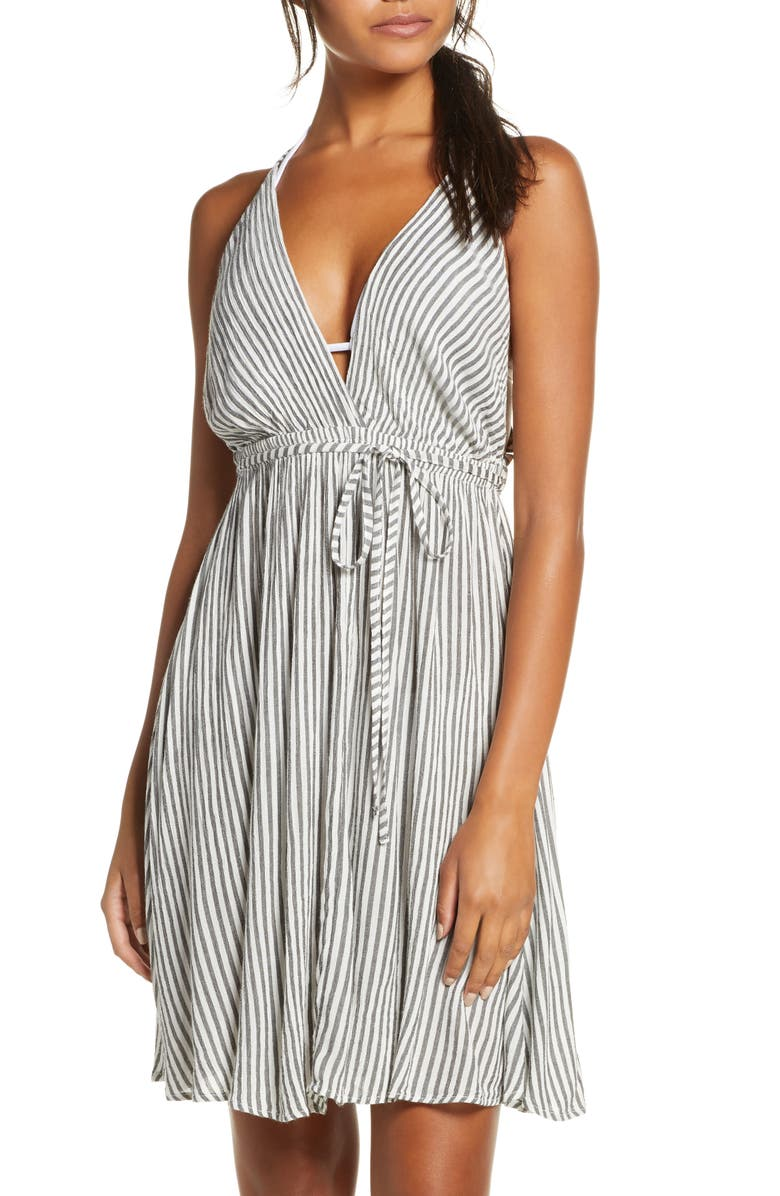 ELAN Stripe Cover-Up Maxi Dress, Main, color, CHARCOAL/ W