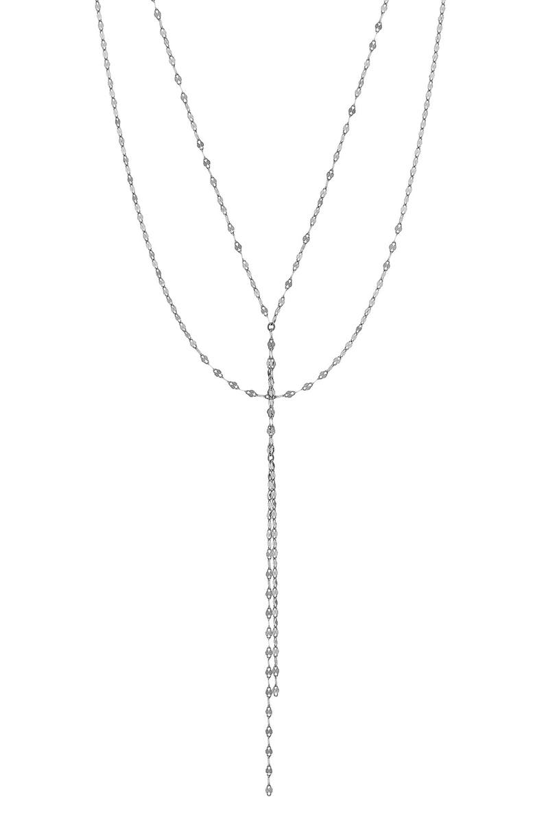 LANA JEWELRY 'Blake' Lariat Necklace, Main, color, WHITE GOLD
