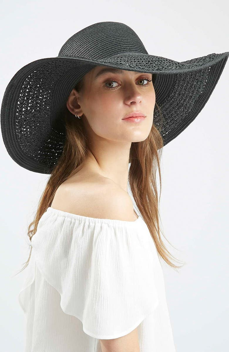 TOPSHOP Crochet Floppy Hat, Main, color, 001