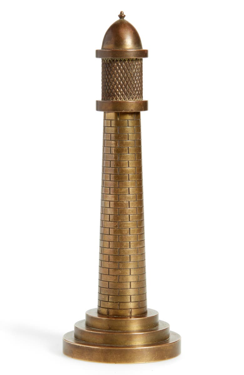 FOUNDWELL One of a Kind Vintage Brass Lighthouse Table Lighter, Main, color, BRONZE