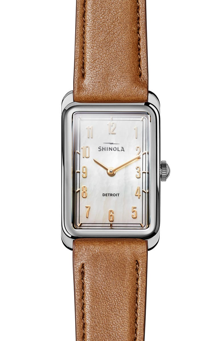SHINOLA The Muldowney Rectangular Leather Strap Watch, 24mm x 32mm, Main, color, BOURBON/ WHITE MOP/ SILVER
