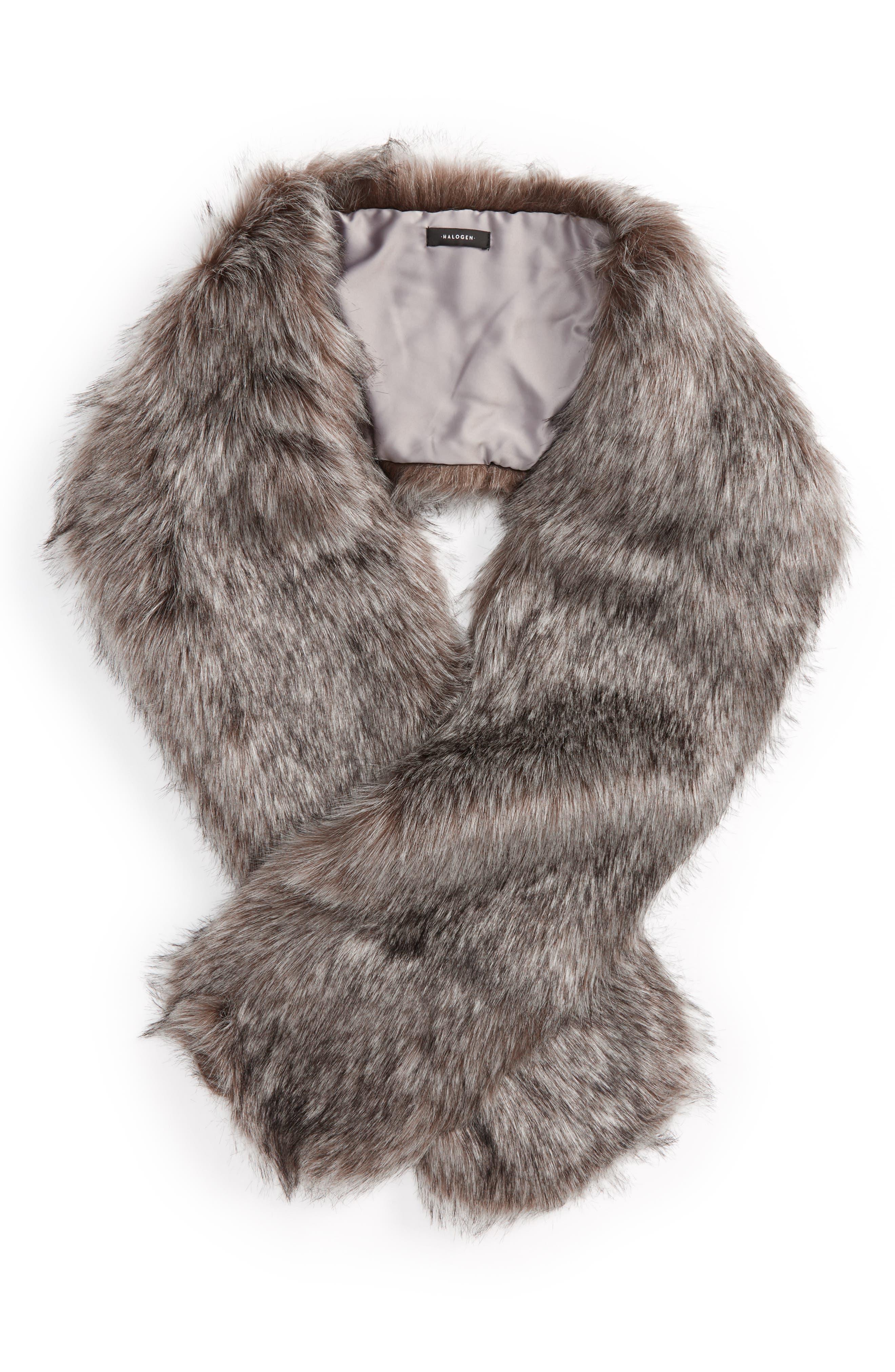 ,                             Faux Fox Fur Stole,                             Alternate thumbnail 6, color,                             020
