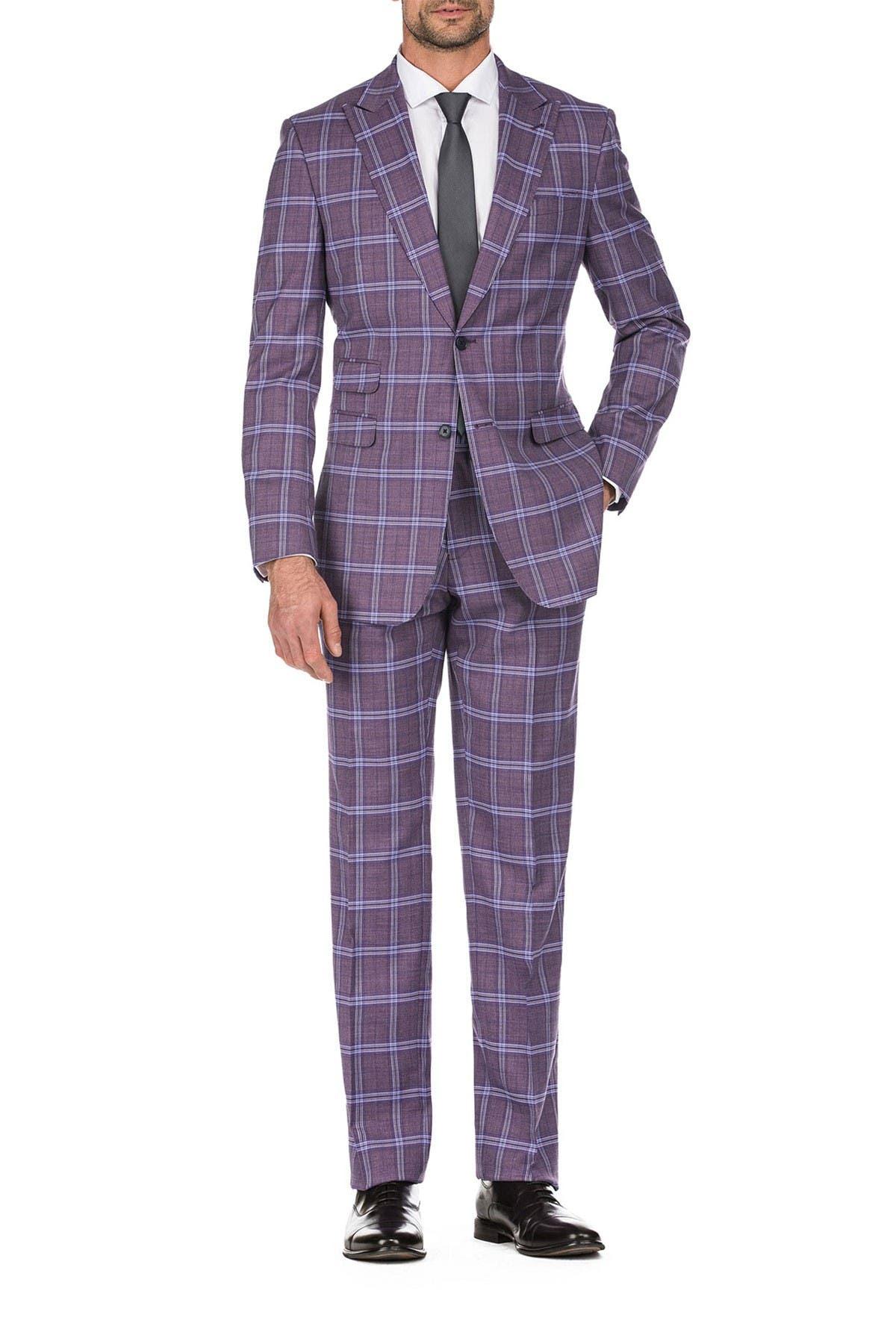Image of English Laundry Burgundy Plaid Slim Fit Peak Lapel Suit