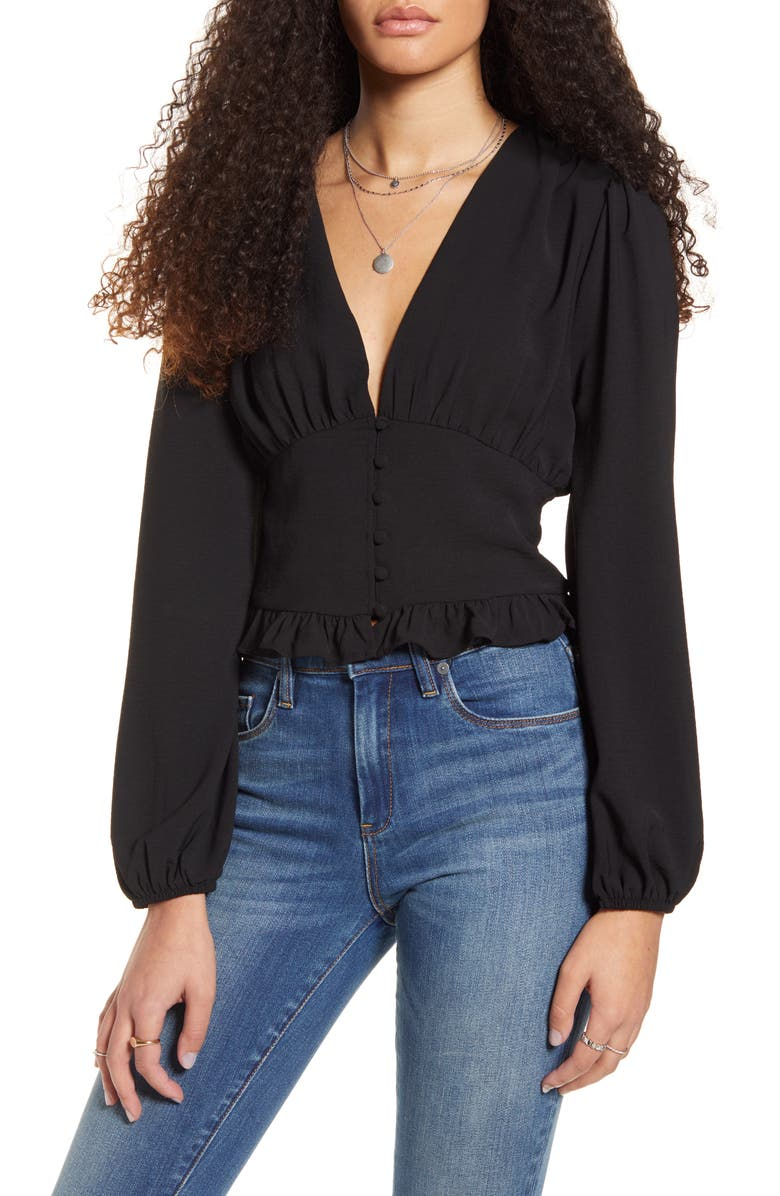 ONE CLOTHING Button Waist V-Neck Top, Main, color, BLACK