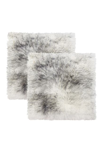 """Image of Natural New Zealand Genuine Sheepskin Shearling Chair Seat Pad - Set of 2 - 17"""" x 17"""" - Gradient Grey"""