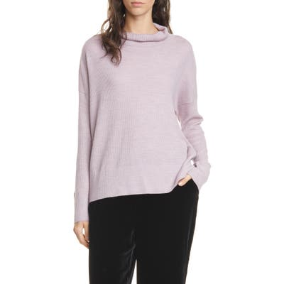 Eileen Fisher Funnel Neck Boxy Merino Sweater, Pink