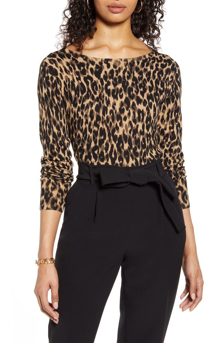 HALOGEN<SUP>®</SUP> Boat Neck Sweater, Main, color, TAUPE ANIMALIA PRINT