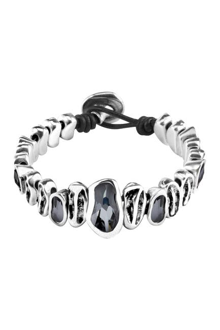 Image of Uno De 50 Grey as Hell Silver Plated Beaded Crystal Bracelet