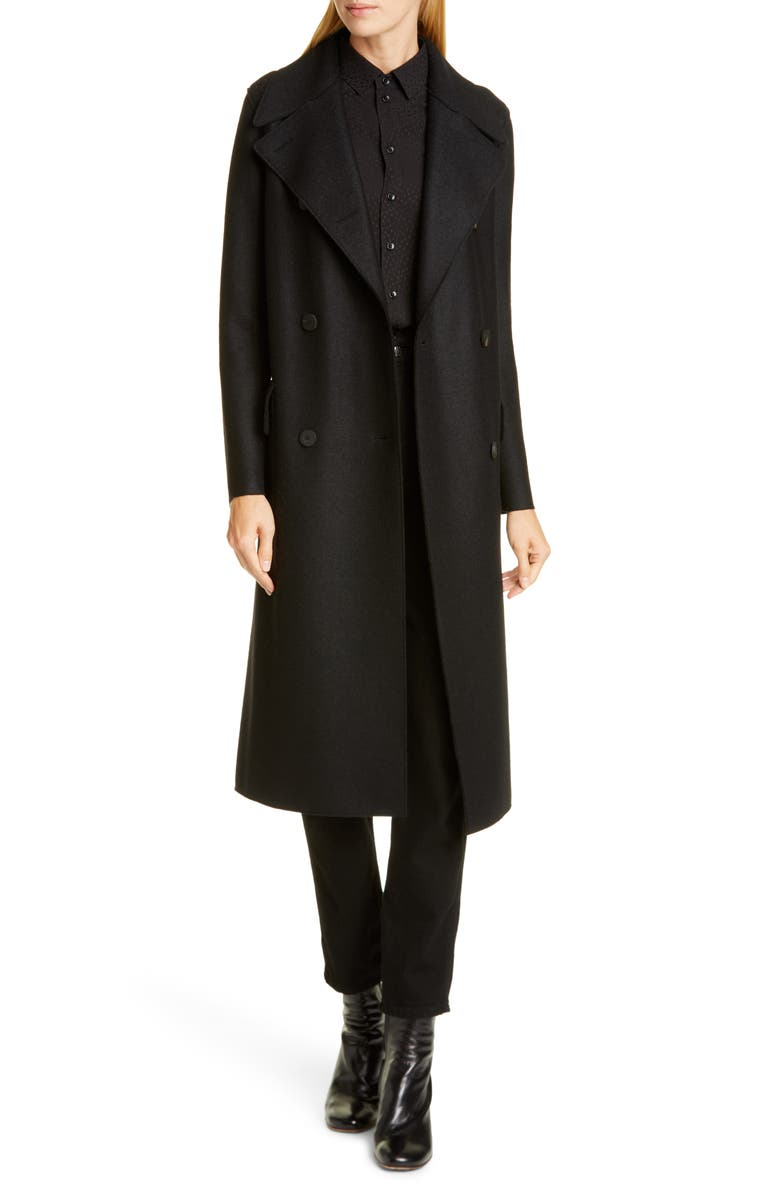 HARRIS WHARF LONDON Double Breasted Wool Military Coat, Main, color, BLACK