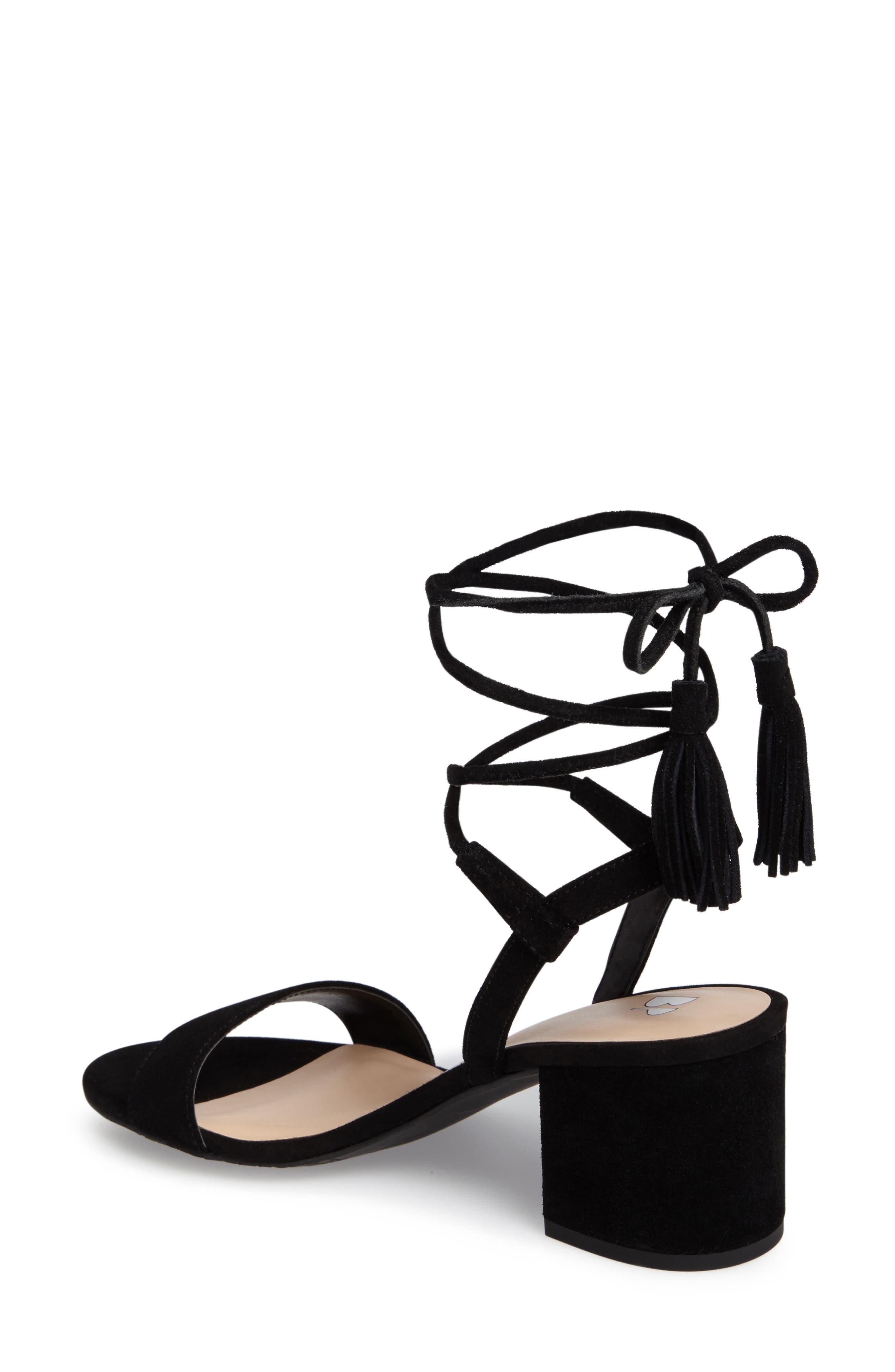 ,                             Karla Block Heel Ankle Wrap Sandal,                             Alternate thumbnail 2, color,                             001