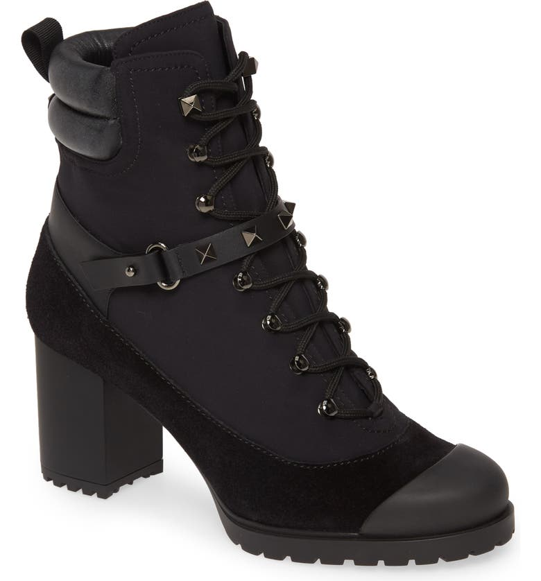 VALENTINO GARAVANI Rockstud Cap Toe Boot, Main, color, BLACK SUEDE