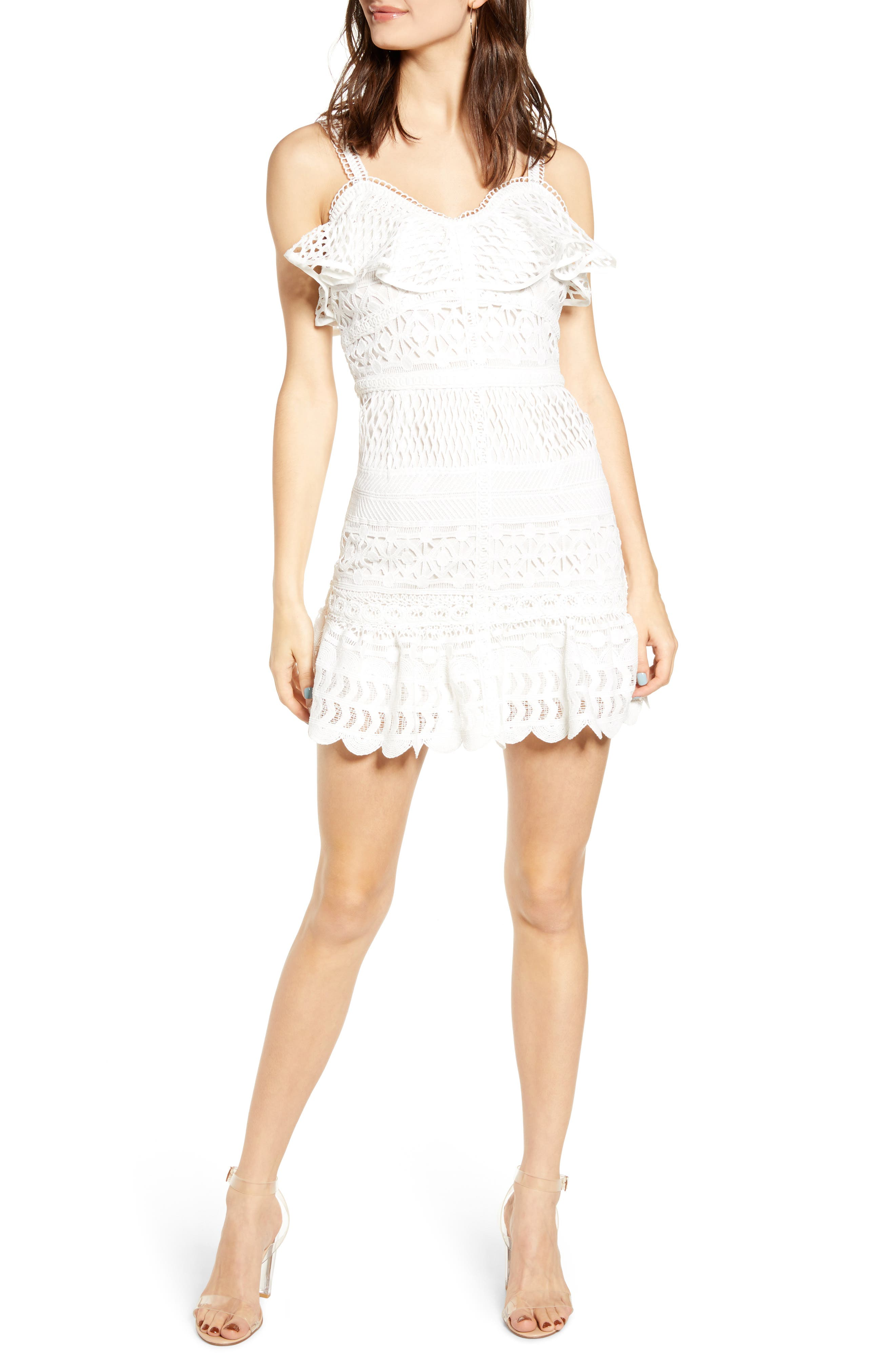 J.o.a. Lace Mix Cotton Sundress, White