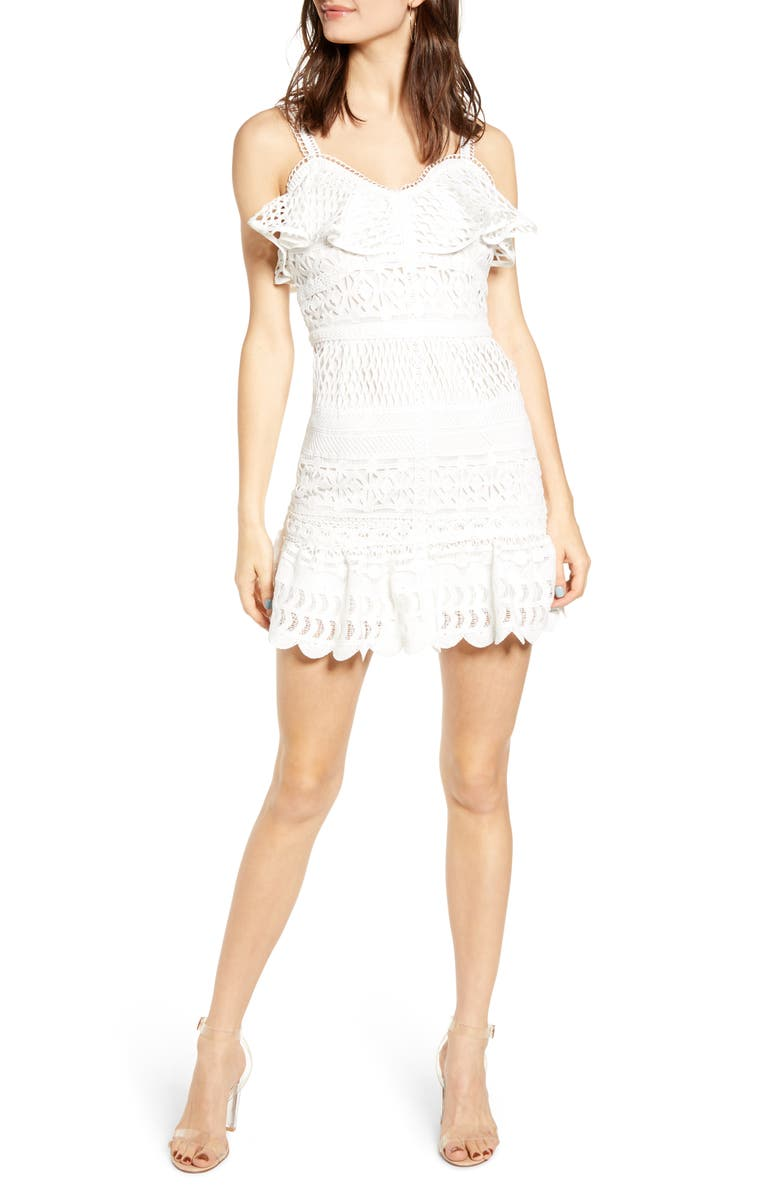 J.O.A. Lace Mix Cotton Sundress, Main, color, WHITE