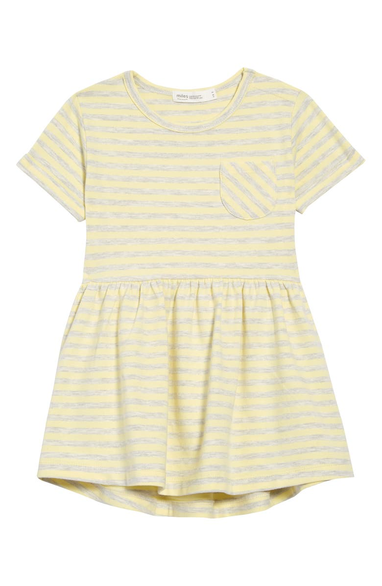 MILES baby Stripe Pocket Dress, Main, color, LIGHT YELLOW