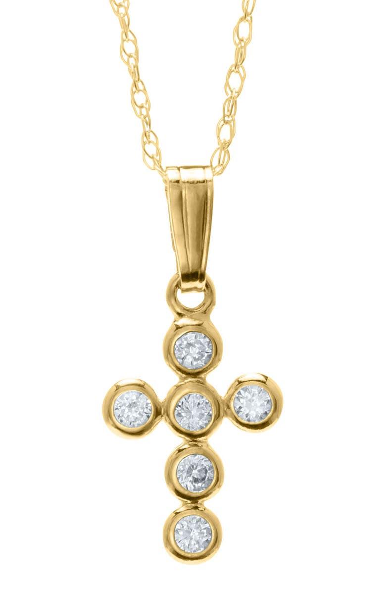 MIGNONETTE Gold Cross Pendant Necklace, Main, color, GOLD