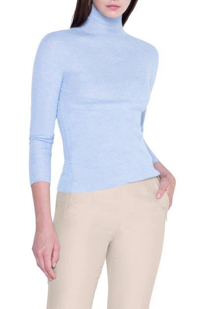 Akris Sweaters RIB CASHMERE & SILK MOCK NECK SWEATER
