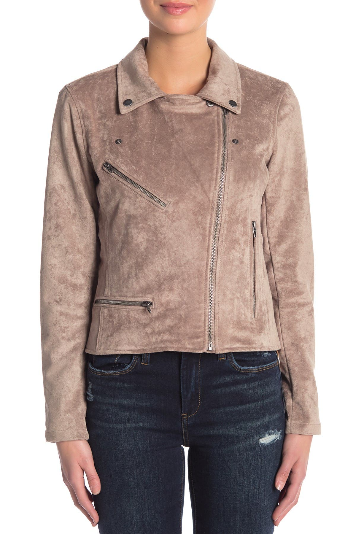 BLANKNYC Denim Faux Suede Moto Jacket