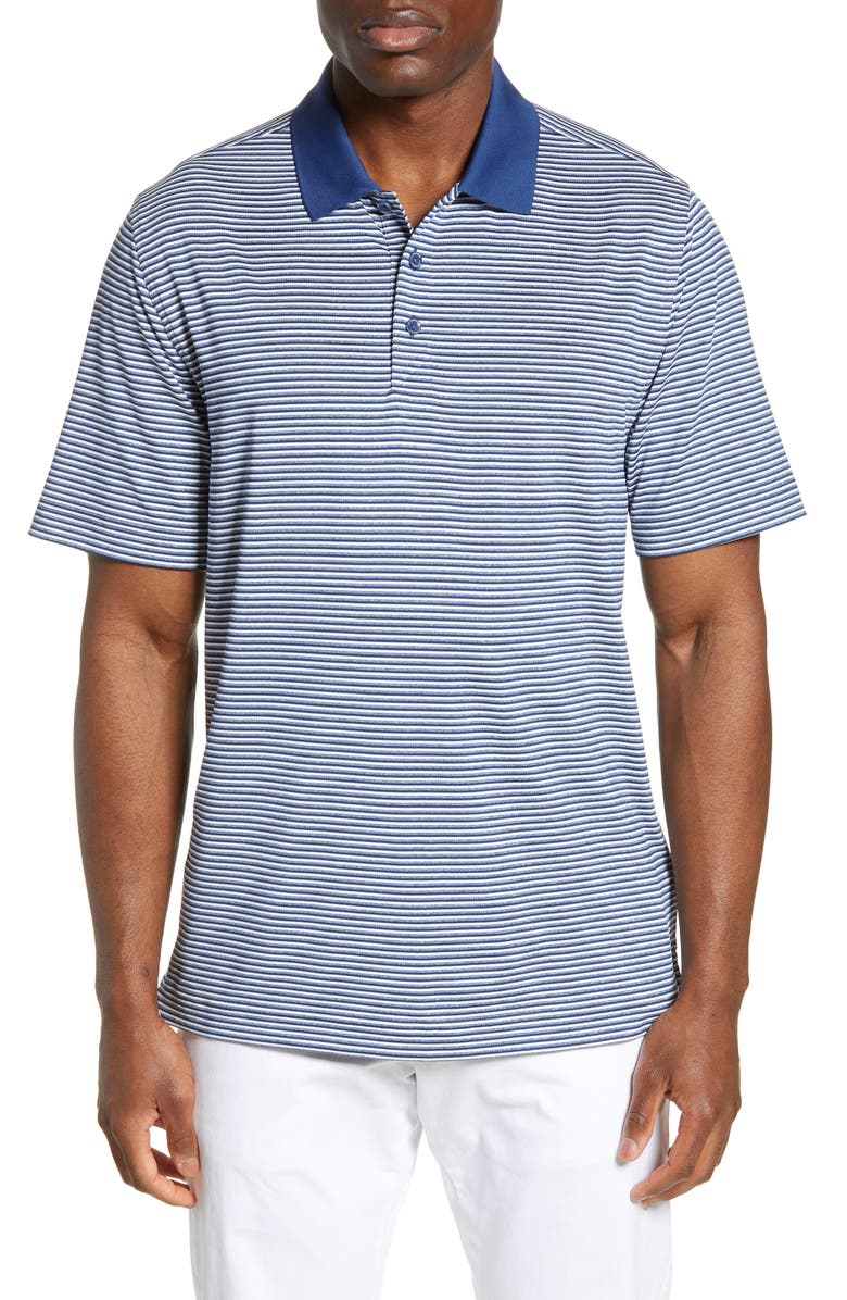 CUTTER & BUCK Forge DryTec Classic Fit Stripe Performance Polo, Main, color, INDIGO