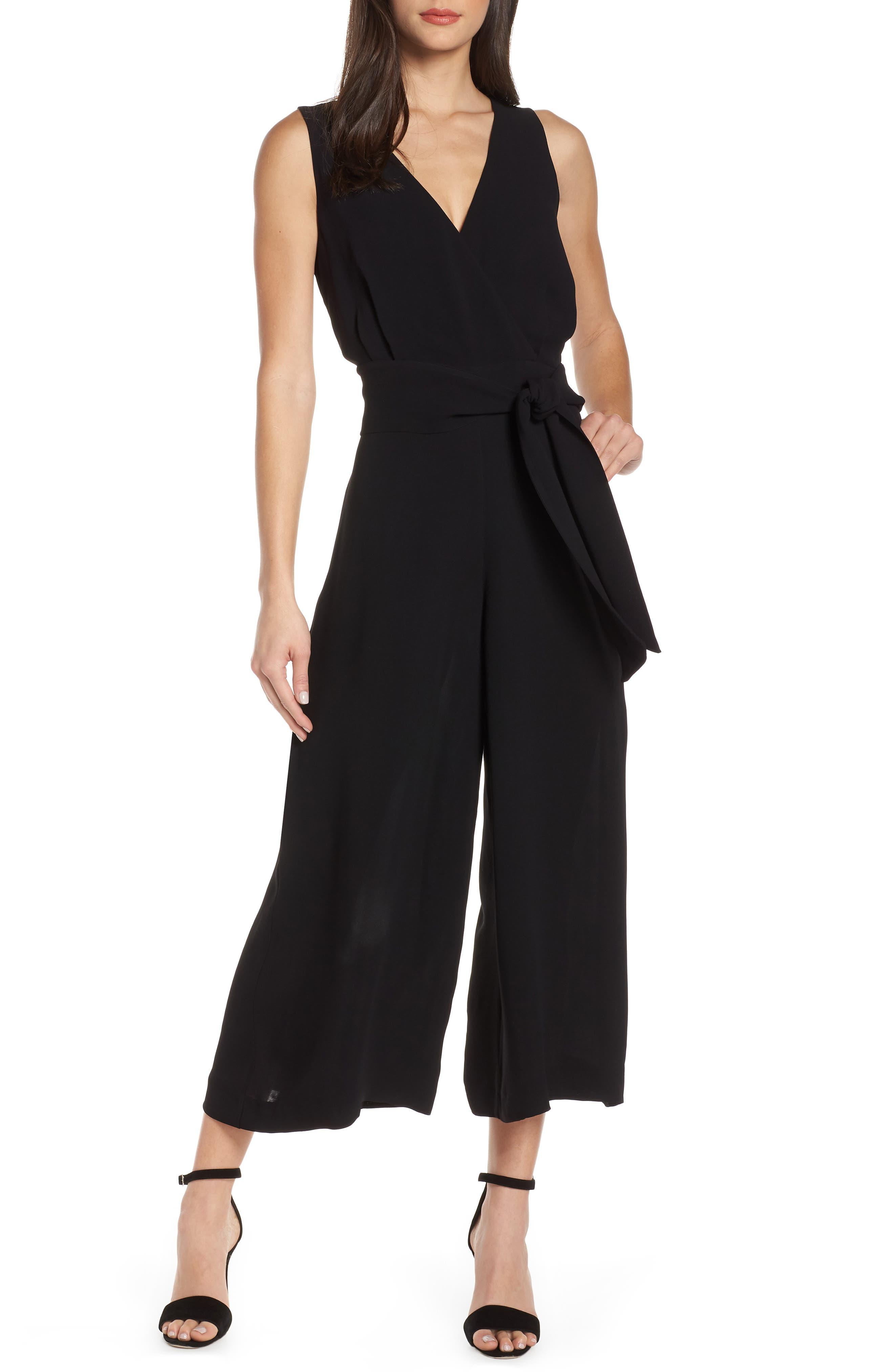 Bessie Crepe Jumpsuit, Main, color, BLACK
