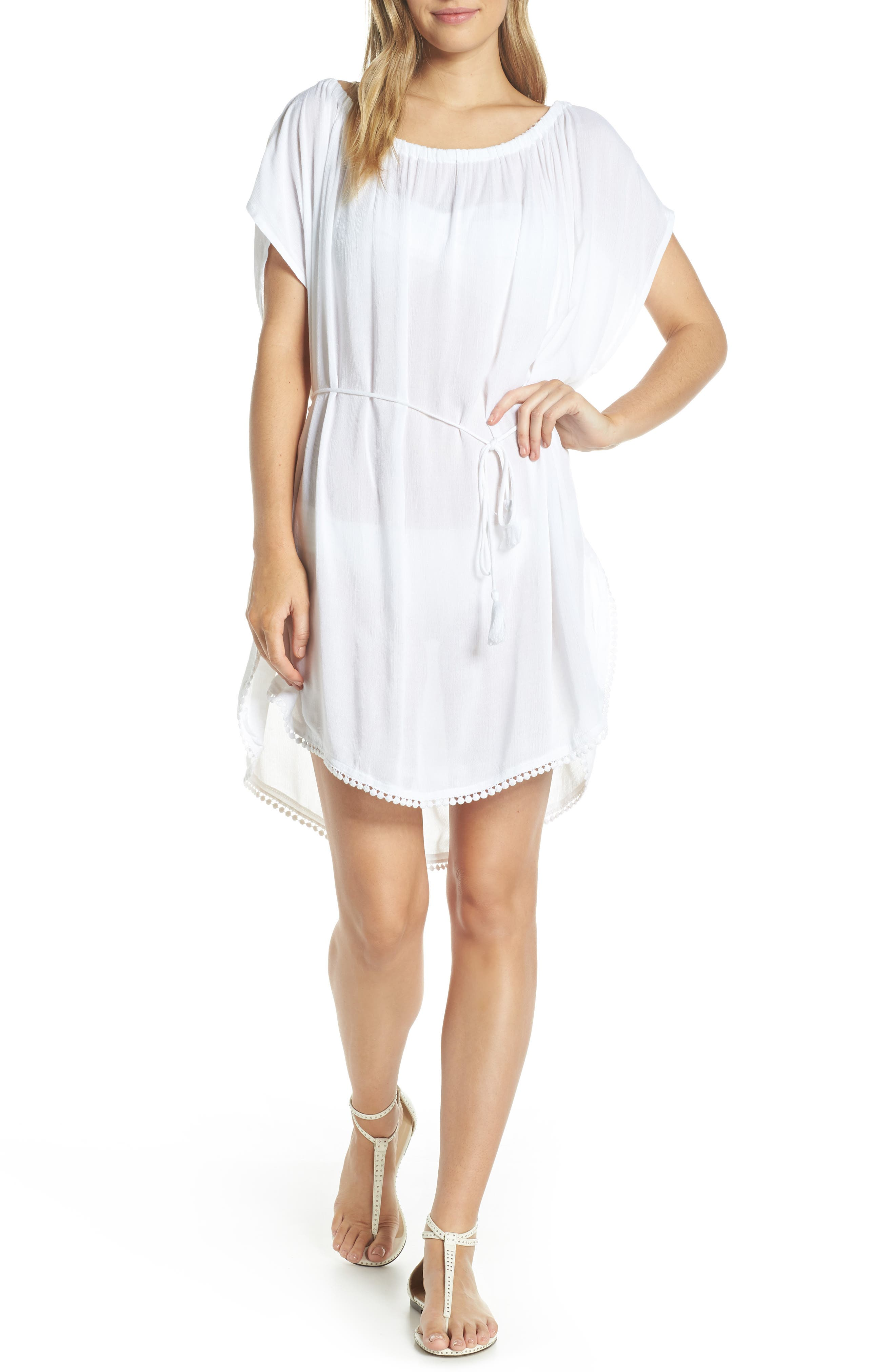 Seaside Cover-Up Dress, Main, color, WHITE