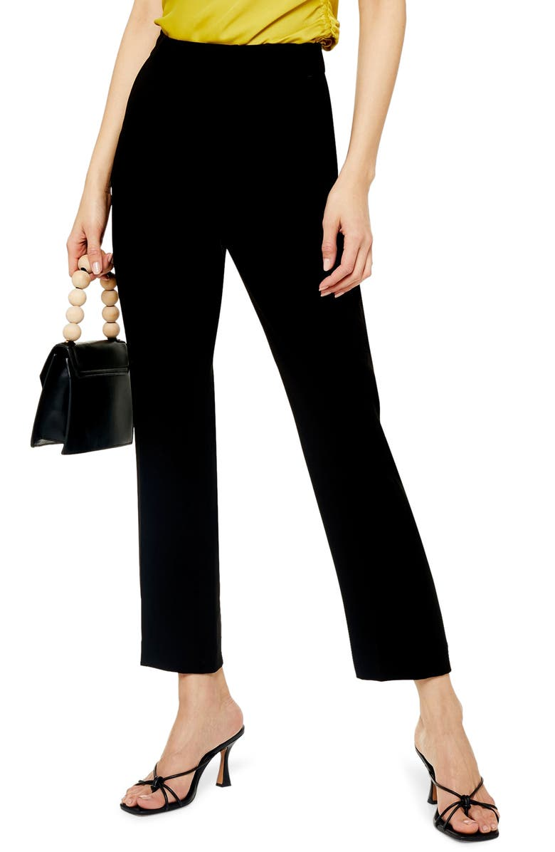 TOPSHOP Straight Leg Cigarette Pants, Main, color, BLACK