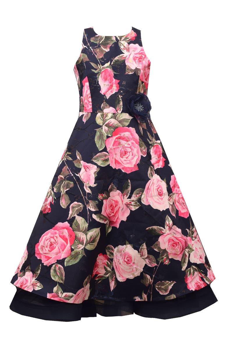IRIS & IVY Metallic Floral Brocade Dress, Main, color, NAV