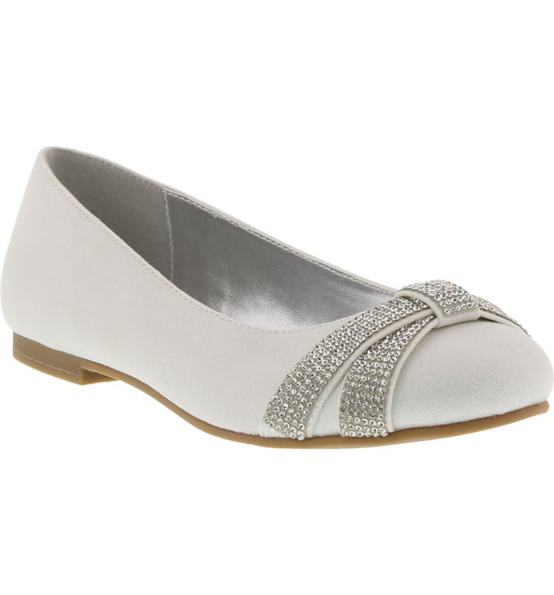 REACTION KENNETH COLE Vote Bling Embellished Flat, Main, color, WHITE SHIMMER
