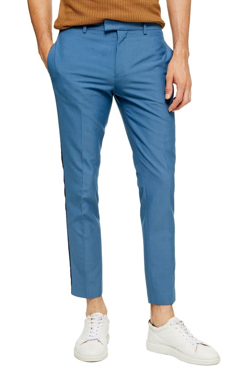 TOPMAN Peardrop Crop Skinny Fit Pants, Main, color, BLUE
