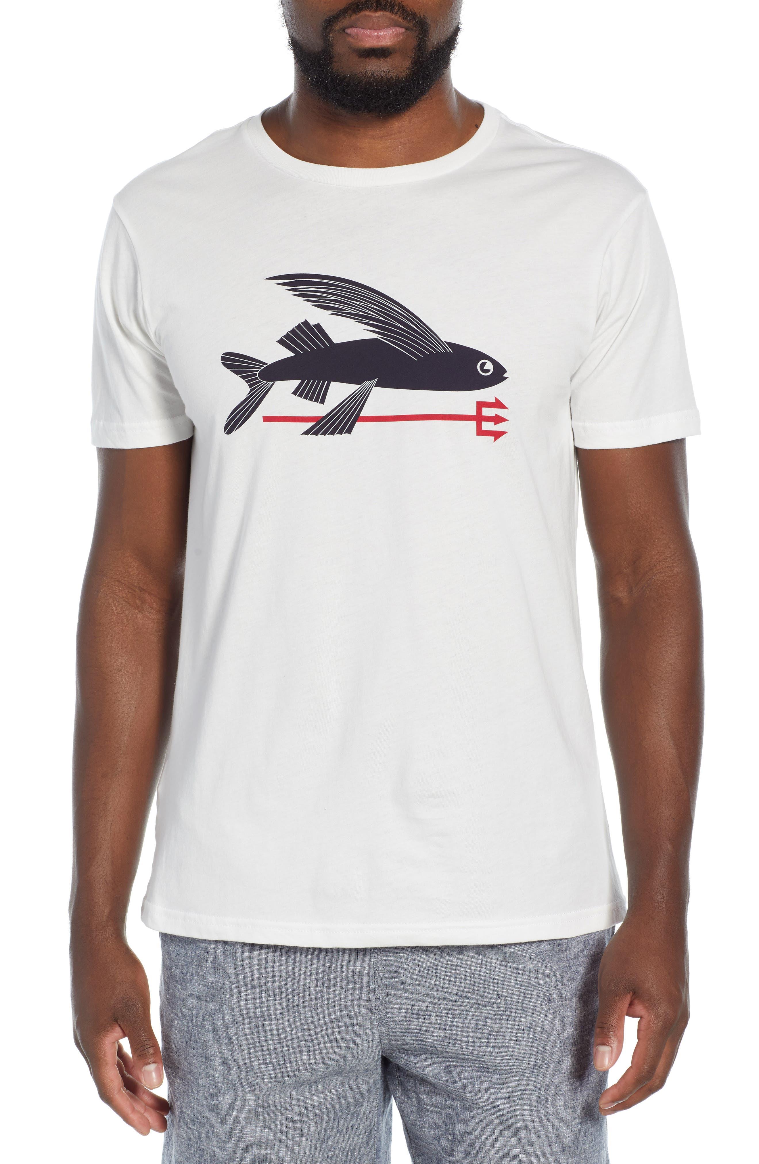 Patagonia Flying Fish Regular Fit Organic Cotton T-Shirt, White