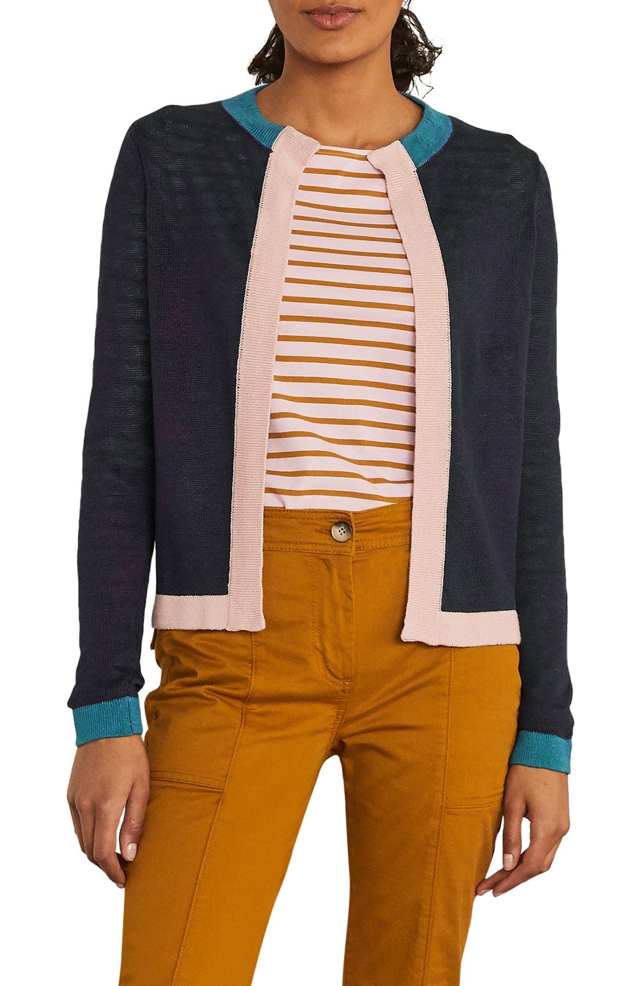 Boden Colorblock Border Linen Cardigan