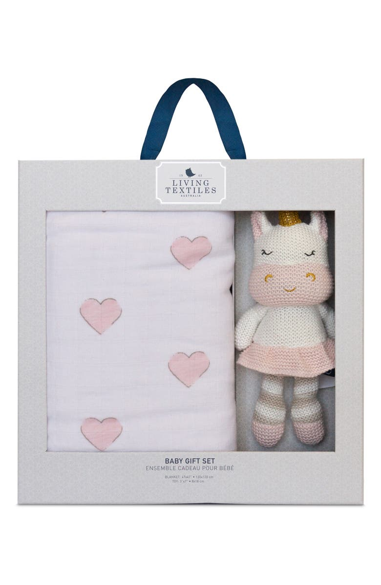 LIVING TEXTILES Baby Bento Swaddle Blanket & Kenzie Stuffed Animal Gift Set, Main, color, PINK