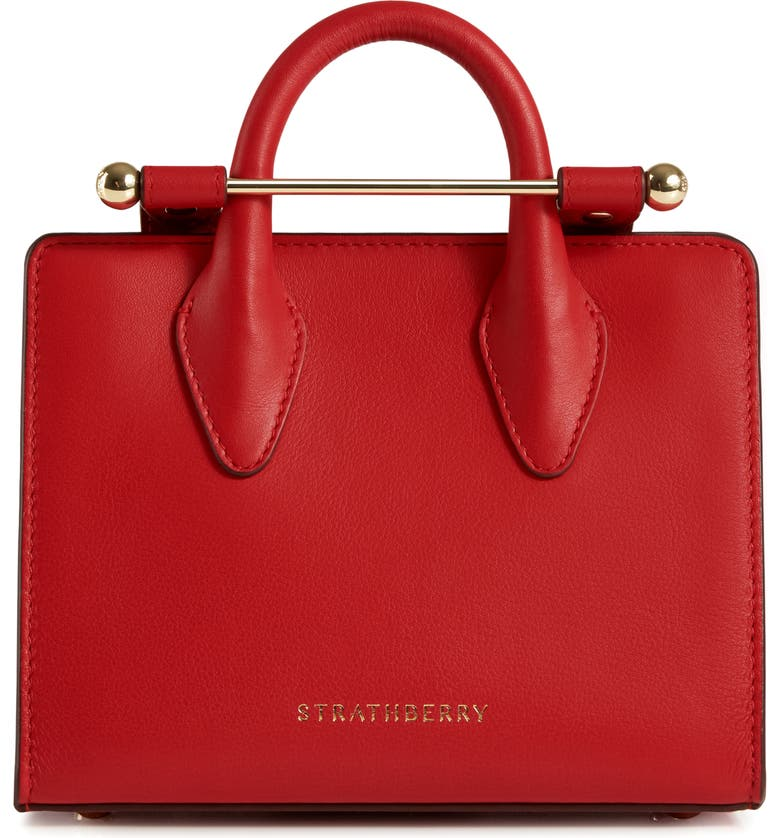STRATHBERRY Nano Leather Tote, Main, color, RUBY