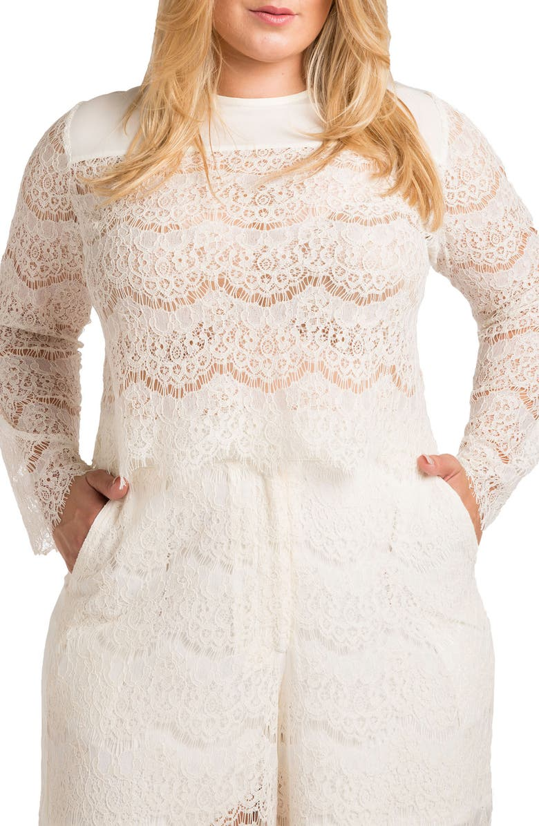 STANDARDS & PRACTICES Sydney Lace Skimmer Top, Main, color, WHITE
