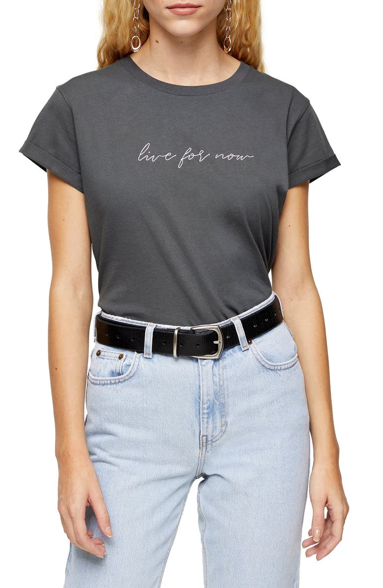 TOPSHOP Live For Now Tee, Main, color, CHARCOAL