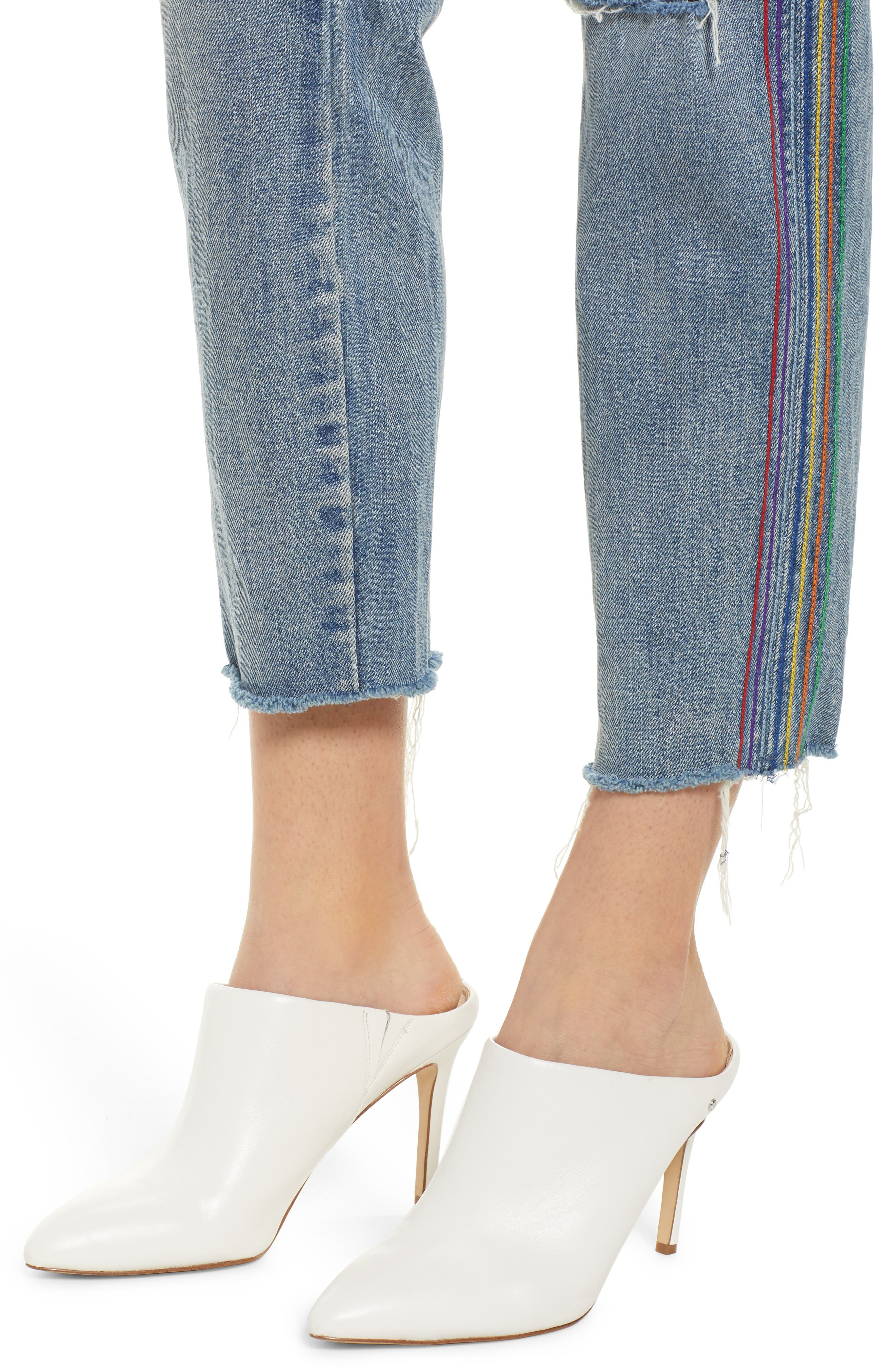 ,                             Rainbow Side Seam Ripped Straight Leg Jeans,                             Alternate thumbnail 5, color,                             400