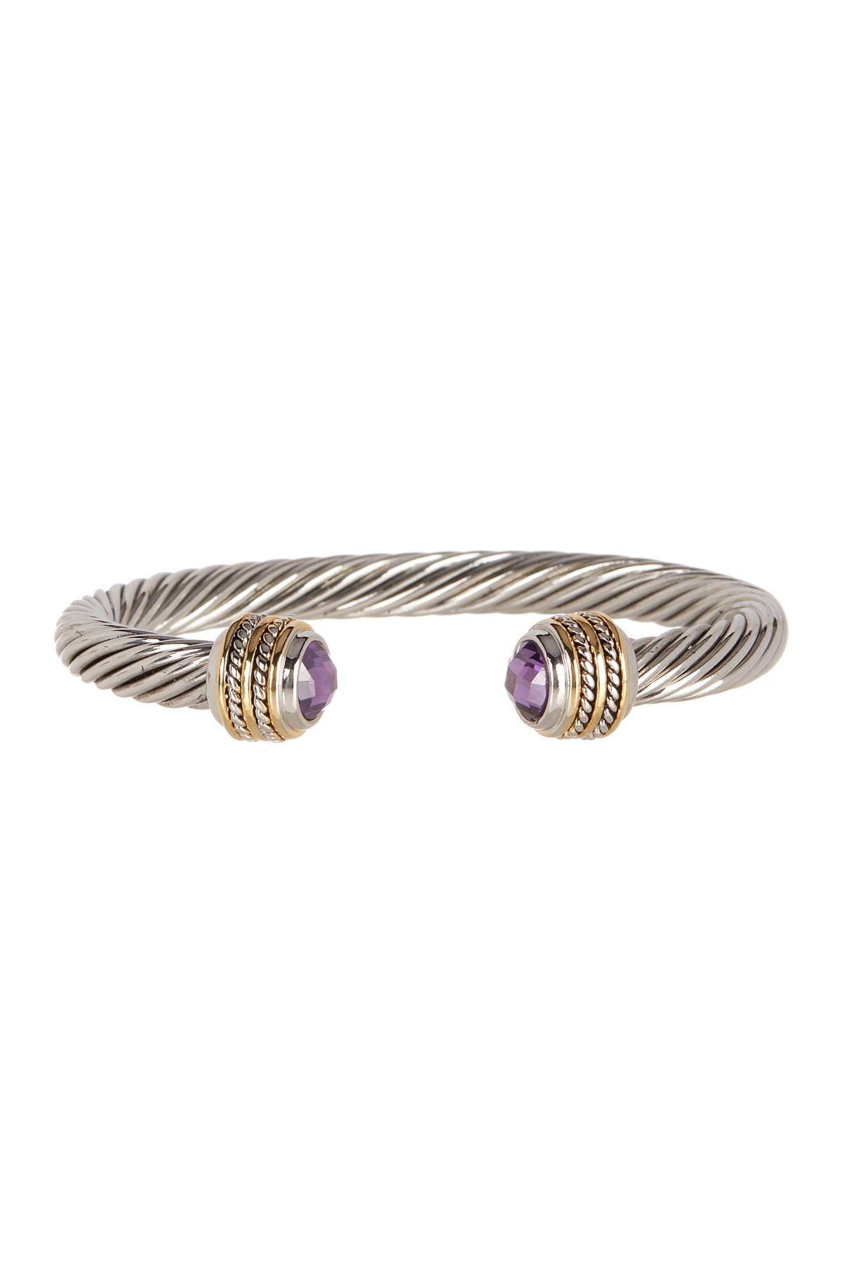 Image of Meshmerise Purple Amethyst End Twisted Cuff Bracelet