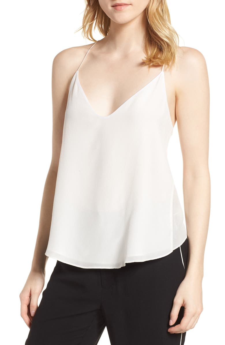 HABITUAL Ella Split Back Silk Camisole, Main, color, STAR WHITE