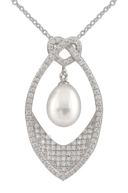 Image of Splendid Pearls Sterling Silver CZ & 8-9mm White Freshwater Pearl Pendant Necklace